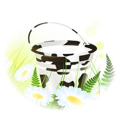 milk bucket at meadow vector image