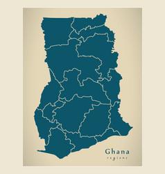 Modern map - ghana gh map with all regions vector