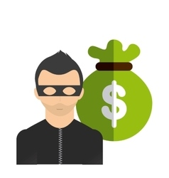 Money bag and thief icon Bank and Money design vector