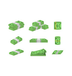 Money dollar set packing in bundles of bank notes vector