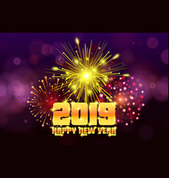 New year 2019 christmas background firework vector