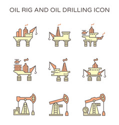 oil rig and oil drilling industry icon set vector image