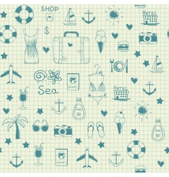 On vacation summer sketch seamless pattern vector image vector image