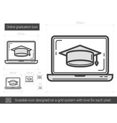 Online graduation line icon vector