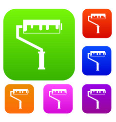 Paint roller with paint set collection vector