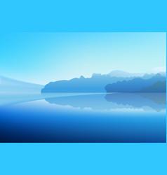 panorama winter dawn on a mountain lake vector image