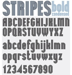 Parallel striped black and white letters and vector image