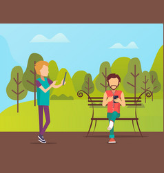 people spending time in park man sitting on bench vector image