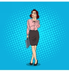 Pop Art Doubtfull Business Woman with Briefcase vector