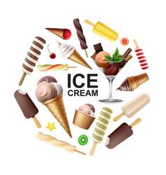 realistic tasty ice cream round concept vector image