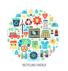 Recycling green energy flat infographics icons in vector
