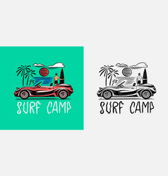 retro car emblem surfing sign summer surf vector image