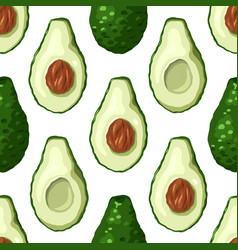 Seamless pattern with avocado halves in a row vector
