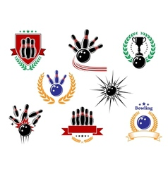 set colored bowling emblems and badges vector image