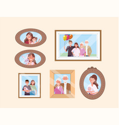 Set happy family pictures memories decoration vector