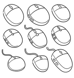 set of computer mouses vector image