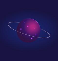 Shiny mysterious uranus with thin ring around vector