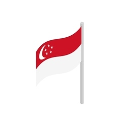 Singapore flag icon isometric 3d style vector