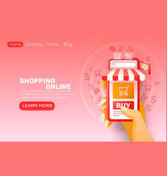 smartphone shopping online application web market vector image