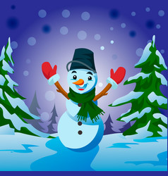 snowman - christmas and new year greeting card vector image