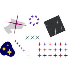 Stars set with four beams in different colors and vector image