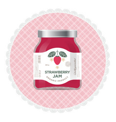 strawberry jam label packaging vector image