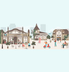 streets houses buildings architecture town vector image