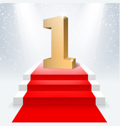 the podium with the number one and the red carpet vector image