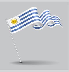 Uruguayan pin wavy flag vector