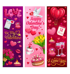 valentines day hearts and romantic holiday gifts vector image