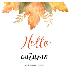 Watercolor autumn sale banner of leaves vector