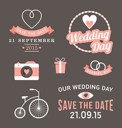 Wedding set of label badges stamp and design vector image