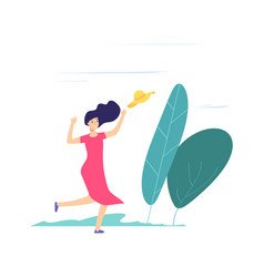 wind day girl walking catching up fly away hat vector image