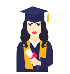 young girl university graduate in graduation cap vector image