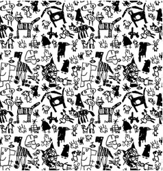 children doodles draw black and white seamless vector image vector image