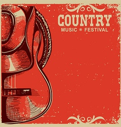 country music card with cowboy hat and guitar on vector image vector image