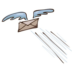 Flying on the wings of letter vector image vector image