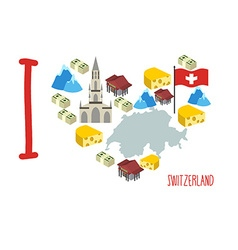 I love Switzerland Symbol heart of cheese and Alps vector image vector image