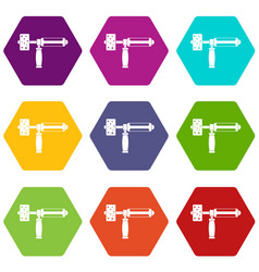 precision grinding machine icon set color vector image