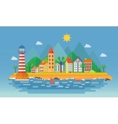 Small city urban landscape Cartoon vector image