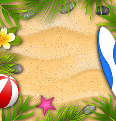 beautiful poster with palm leaves beach ball vector image vector image