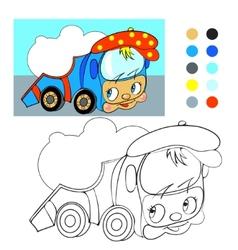 Coloring book Cartoon funny car truck vector image vector image