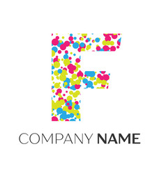 Letter f logo with blue yellow red particles vector