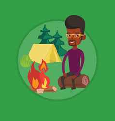 man sitting on log near campfire in the camping vector image