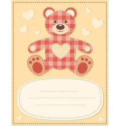 Card with the teddy bear for baby shower 2 vector image