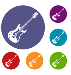 classical electric guitar icons set vector image vector image