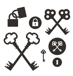 Key Lock Icon set vector image