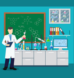 laboratory assistant with test tube vector image