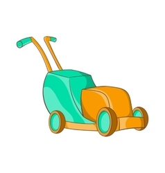 Lawnmower icon in cartoon style vector image