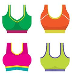 Set of colorful women sport bra vector